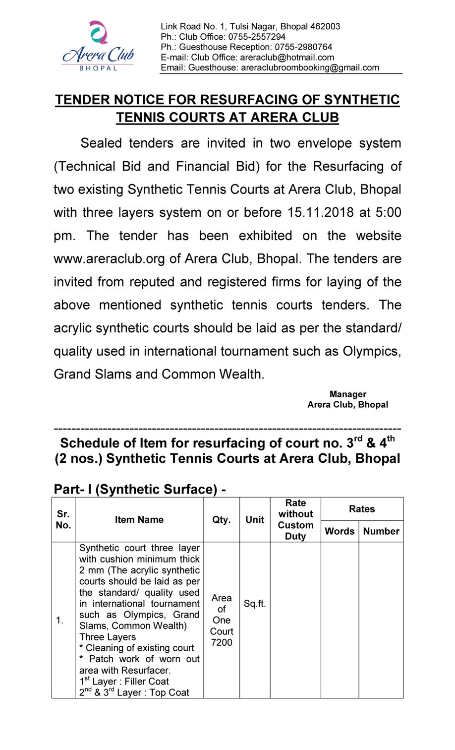 Tender For Resurfacing Of Synthetic Tennis Courts